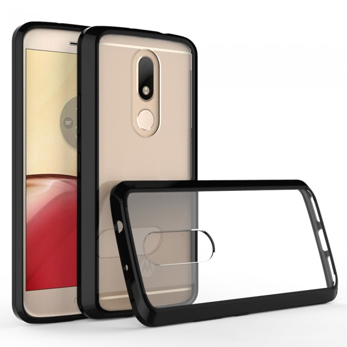 CUBIX Hybrid Air Case Soft Bumper and Hard Acrylic Crystal Transparent Back Cover TPU Cover Case for Motorola Moto M (Black) Scratch Resistant Shock Absorbing