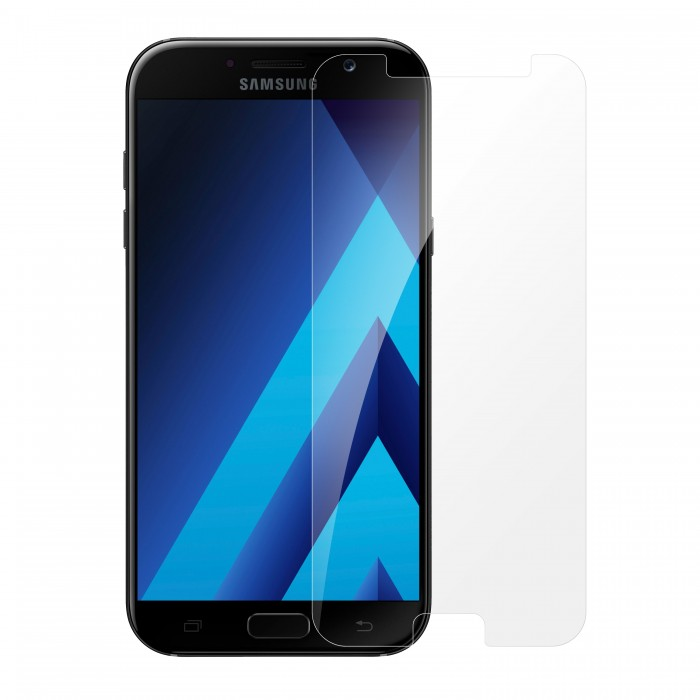 Samsung Galaxy A7 2017 Tempered Glass (HOKO) (Shatter Proof 0.3mm 2.5D Round Edge) Anti Oil Real Tempered Glass With Electroplating Coating