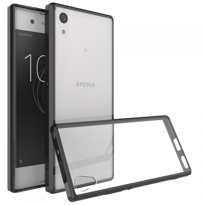 CUBIX Hybrid Air Case Soft Bumper and Hard Acrylic Crystal Transparent Back Cover TPU Cover Case for Sony Xperia XA1 (Black) Scratch Resistant Shock Absorbing