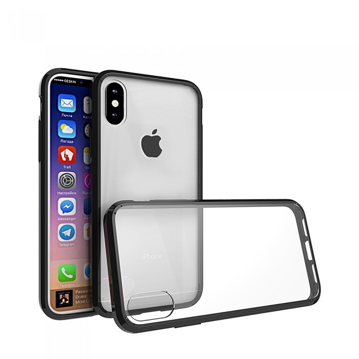 CUBIX Hybrid Air Case Soft Bumper and Hard Acrylic Crystal Transparent Back Cover TPU Cover Case for Apple iPhone X & iPhone XS (5.8 Inch) (Black) Scratch Resistant Shock Absorbing