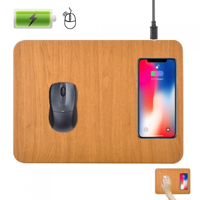 Cubix Lifetime Series Wireless Charging Mouse Pad,QI Wireless Fast Charging Pad Station Mat 5 W for Galaxy Note 8 S8 S8 Plus S7 Edge S7 S6 Edge Plus Note 5, Standard Charge for iPhone X iPhone 8 (11.8 x 8.8 inch) Brown