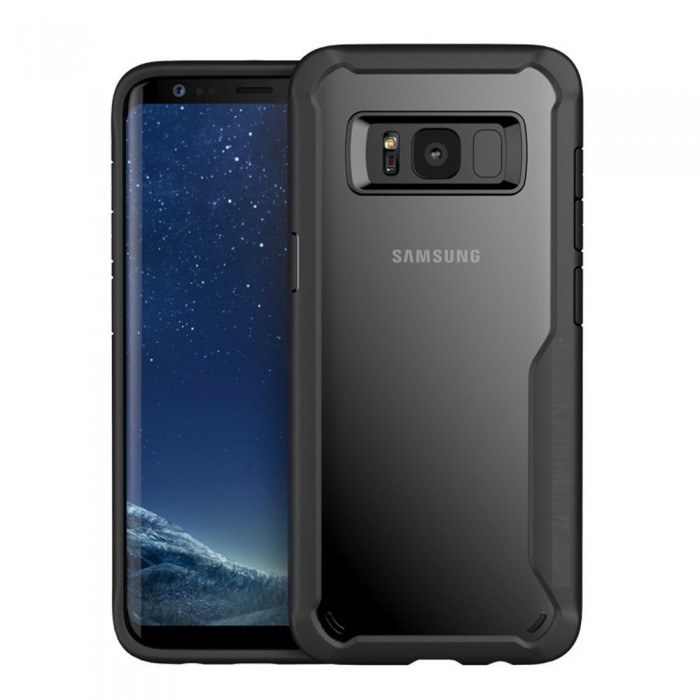 CUBIX Casix Crystal Clear TPU [Rugged] HD [Thin] Hybrid Slim [Scratch Resistant] Protective Black Case for Samsung Galaxy S8+, Galaxy S8 Plus (Black)