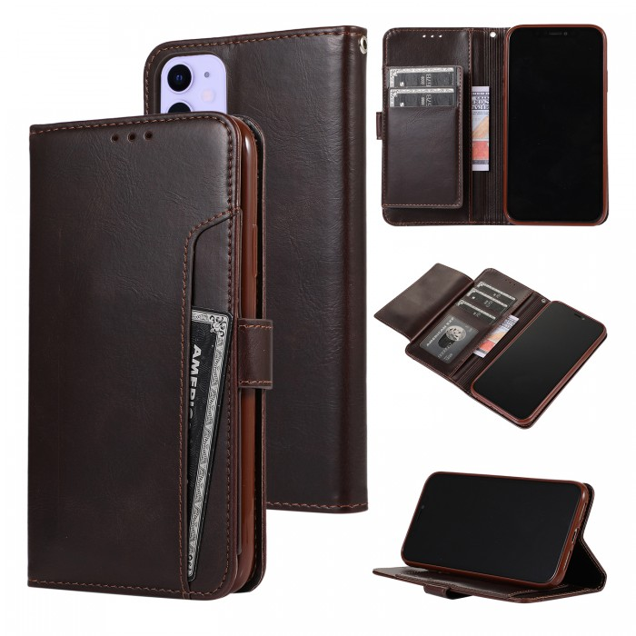 Cubix Wallet Case PU Leather Flip Folio Kickstand Wallet Case with Card Slots For Apple iPhone 11 (Brown)