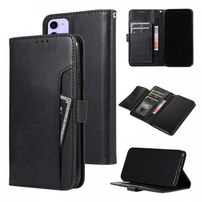 Cubix Wallet Case PU Leather Flip Folio Kickstand Wallet Case with Card Slots For Apple iPhone 11 (Black)
