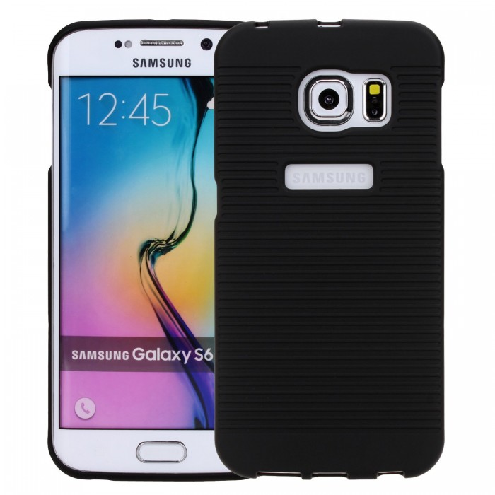 Galaxy S6 Edge Case, CUBIX Ribbed Shell Holster Combo Front Back Case Cover For Samsung Galaxy S6 Edge with 180 Degree Kick-Stand & Belt Clip (Jet Black)