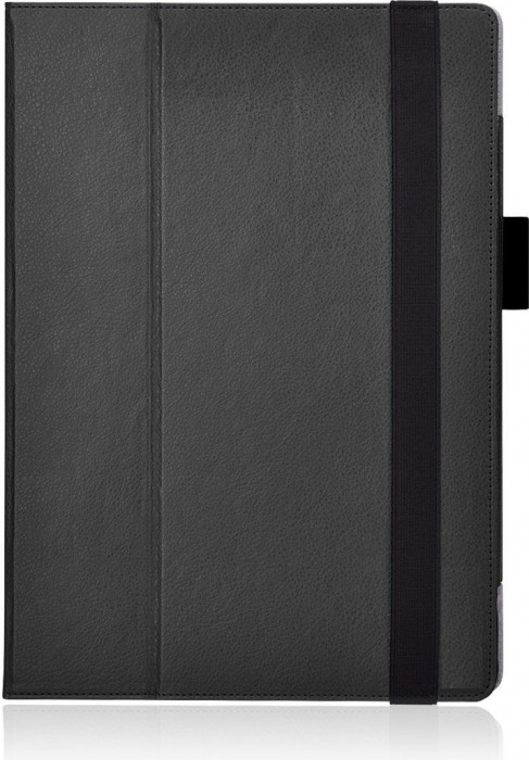 HOKO Black Leather Flip Cover Book Case with Elastic Hand Strap and Card Holder and magnetic closure for Microsoft Surface Pro 4
