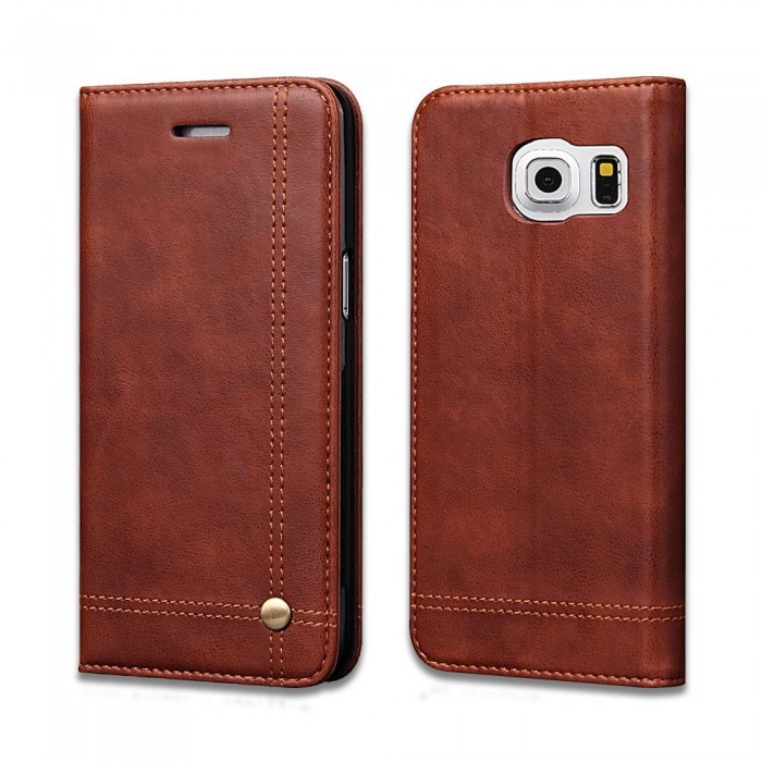 Samsung Galaxy S7 edge Case, CUBIX Leather Case for Samsung Galaxy S7 Edge Classic Leather Wallet Cases Slim Folio Book Cover with Credit Card Slots, Cash Pocket, Stand Holder, Magnet Closure (Brown)