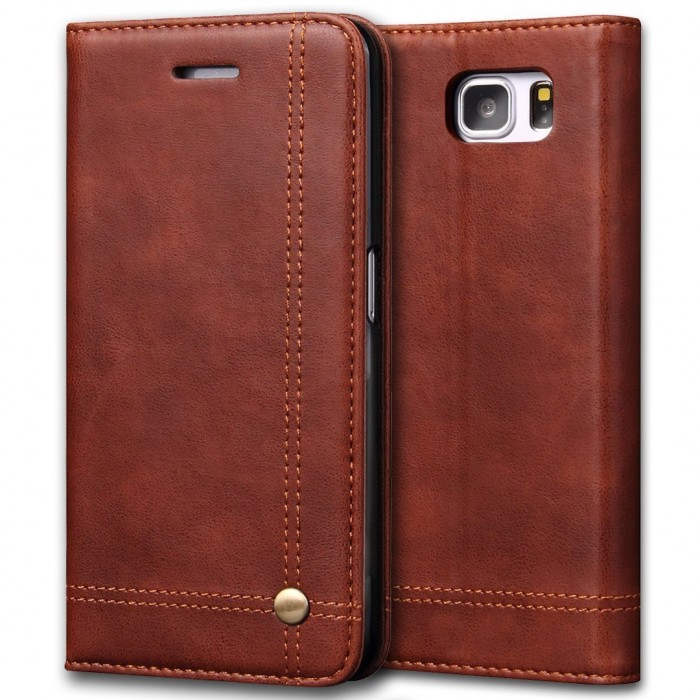 Samsung Galaxy Note 7 Case, CUBIX Leather Case for Samsung Galaxy Note 7 Classic Leather Wallet Cases Slim Folio Book Cover with Credit Card Slots, Cash Pocket, Stand Holder, Magnet Closure (Brown)