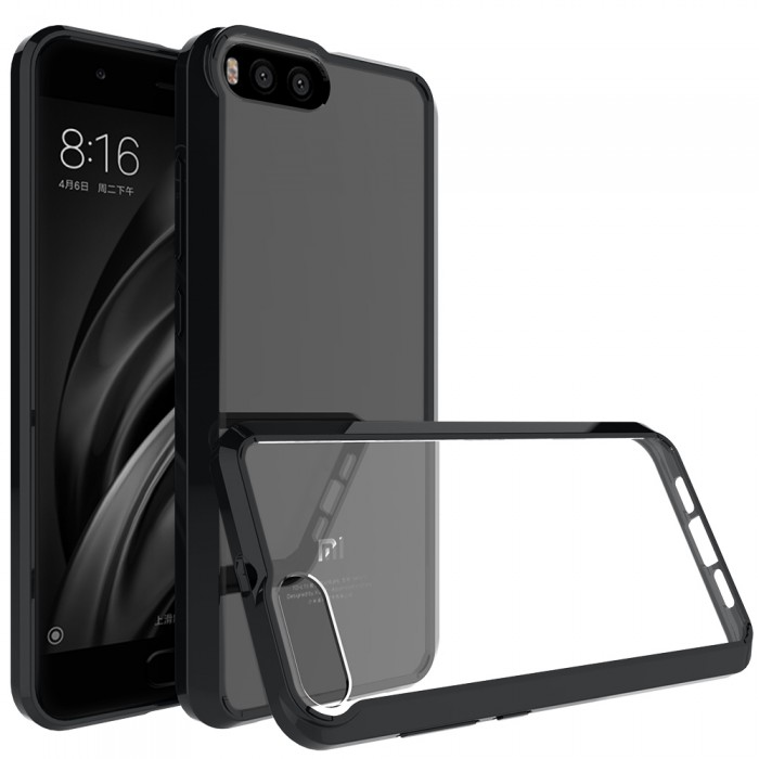 CUBIX Hybrid Air Case Soft Bumper and Hard Acrylic Crystal Transparent Back Cover TPU Cover Case for Xiaomi Mi 6 (Black) Scratch Resistant Shock Absorbing