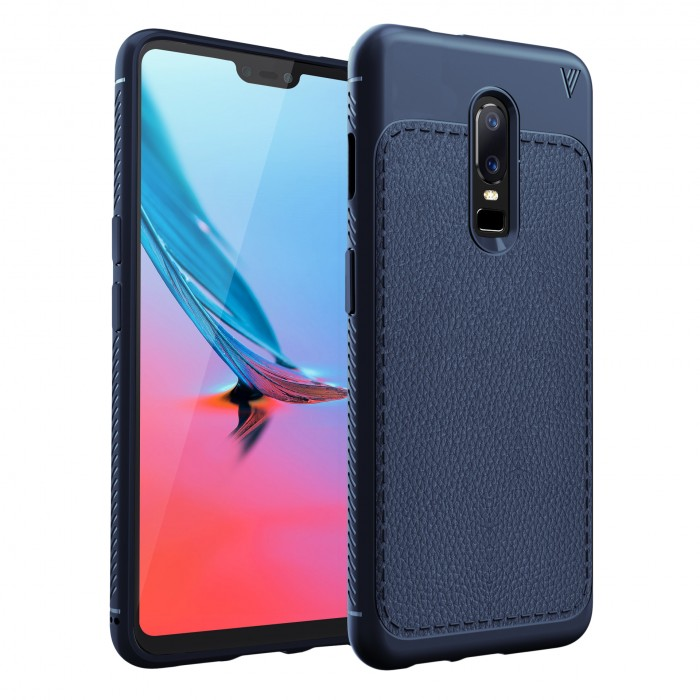 Cubix Leather TPU Case, [Lightweight Bumper] [Anti-Scratch] [Leather Texture Pattern] Shock Resistant Rubber Silicone TPU Slim Case for OnePlus 6, One Plus 6 (Blue)