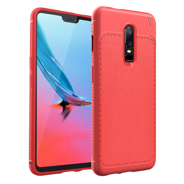Cubix Leather TPU Case, [Lightweight Bumper] [Anti-Scratch] [Leather Texture Pattern] Shock Resistant Rubber Silicone TPU Slim Case for OnePlus 6, One Plus 6 (Red)