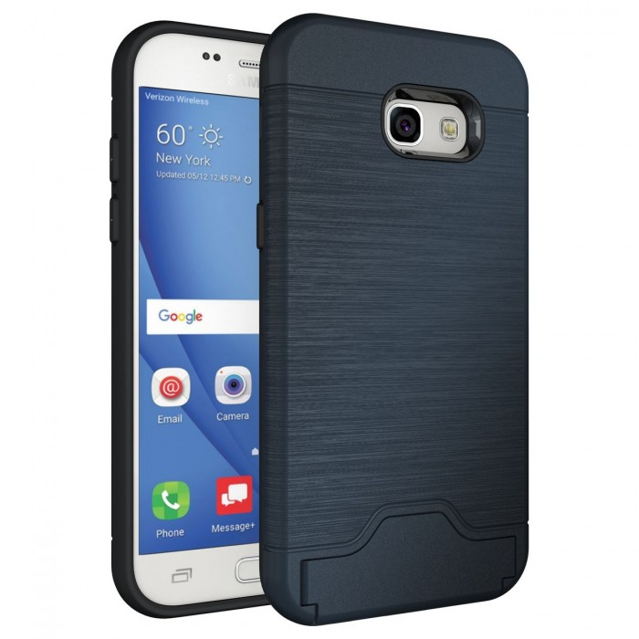 Samsung Galaxy A5 2017 Case, Cubix Light Armor Series Cover Brushed Bumper Shock Absorbing Hard Slim Thin Protective Case, Wallet ID Card Slot, Kickstand Case Cover For Samsung Galaxy A5 2017 (Navy Blue)