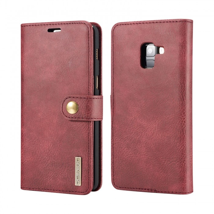 DG MING Samsung A8 Plus A8+ Case Flip Cover Leather Wallet Magnetic Detachable Back Cover for Samsung Galaxy A8 Plus Galaxy A8+ - Red