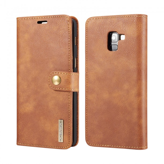 DG MING Samsung A8 Plus A8+ Case Flip Cover Leather Wallet Magnetic Detachable Back Cover for Samsung Galaxy A8 Plus Galaxy A8+ - Brown