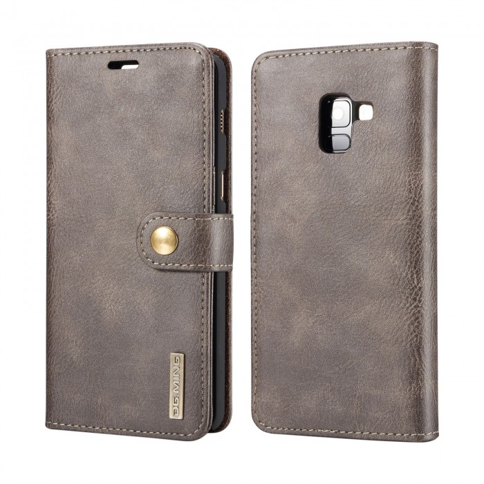 DG MING Samsung A8 Plus A8+ Case Flip Cover Leather Wallet Magnetic Detachable Back Cover for Samsung Galaxy A8 Plus Galaxy A8+ - Grey