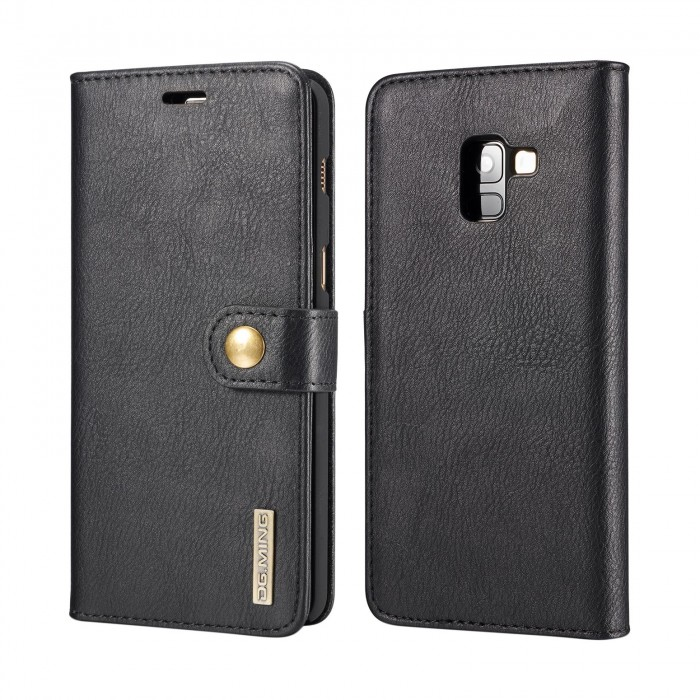 DG MING Samsung A8 Plus A8+ Case Flip Cover Leather Wallet Magnetic Detachable Back Cover for Samsung Galaxy A8 Plus Galaxy A8+ - Black