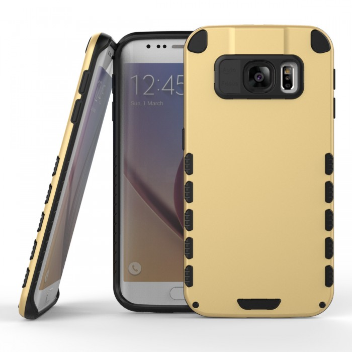 Samsung Galaxy S6 Edge Case (Cubix) Armor Robot Cover [Anti Scratch] Slim-Fit Two Layer Defender Bumper Back cover For Samsung Galaxy S6 Edge (Gold)