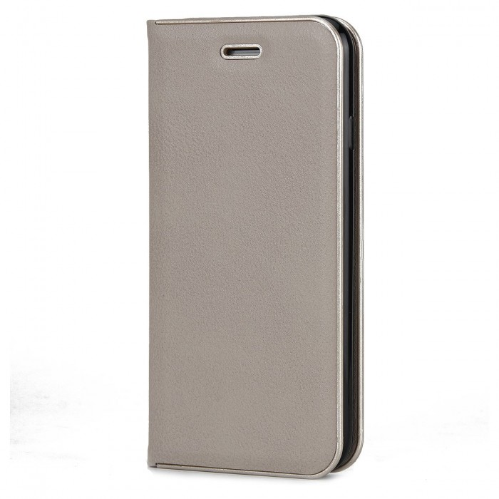 Apple iPhone 7, Apple iPhone 8 Luxury Leather Case Cubix Magnetic Flip Cover for Apple iPhone 7, Apple iPhone 8 Wallet Cases Book Cover (Grey)