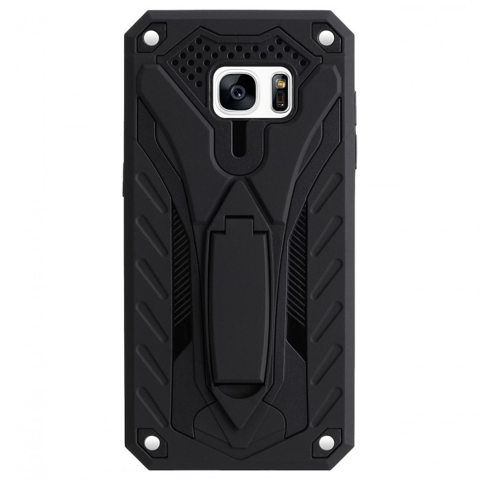 Cubix Case for Samsung Galaxy S7 EDGE Robot 2017 Series Case Back Cover Hybrid Defender Bumper shock proof Case Armor Cover With 2 way Stand for Samsung Galaxy S7 EDGE (Black)