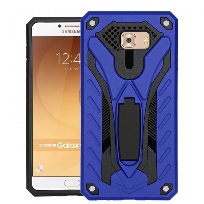 Cubix Case for Samsung Galaxy C9 Pro Robot 2017 Series Case Back Cover Hybrid Defender Bumper shock proof Case Armor Cover With 2 way Stand for Samsung Galaxy C9 Pro (Blue)