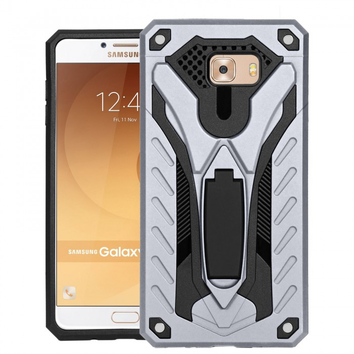 Cubix Case for Samsung Galaxy C9 Pro Robot 2017 Series Case Back Cover Hybrid Defender Bumper shock proof Case Armor Cover With 2 way Stand for Samsung Galaxy C9 Pro (Silver)
