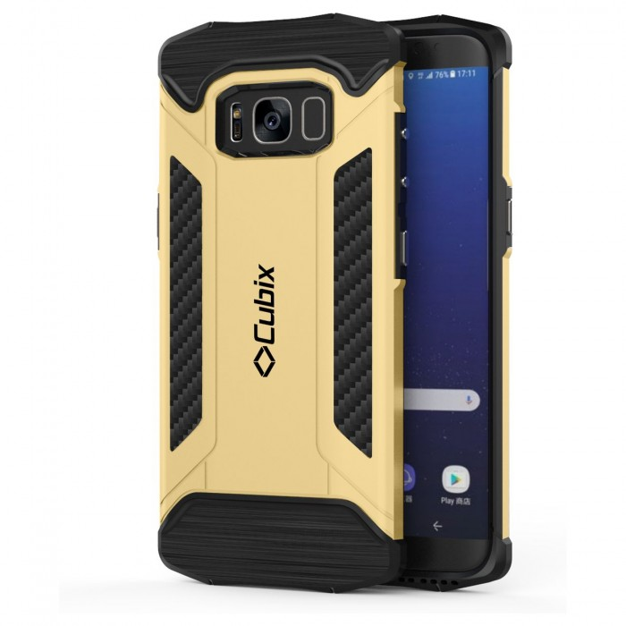 Cubix CFX Case For Samsung Galaxy S8+, Galaxy S8 Plus Hybrid Shockproof Case Mil-Spec Drop Tested Case for Samsung Galaxy S8+, Galaxy S8 Plus - Gold