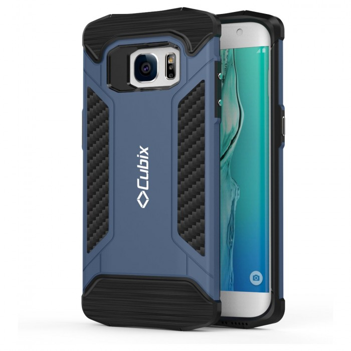 Cubix CFX Case For Samsung Galaxy S7 EDGE Hybrid Shockproof Case Mil-Spec Drop Tested Case for Samsung Galaxy S7 EDGE - Navy Blue