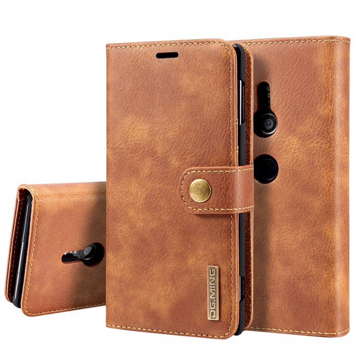 DG MING Xperia XZ2 Case Flip Cover Leather Wallet Magnetic Detachable Back Cover for SONY Xperia XZ2 - Brown