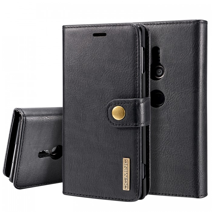 DG MING Xperia XZ2 Case Flip Cover Leather Wallet Magnetic Detachable Back Cover for SONY Xperia XZ2 - Black