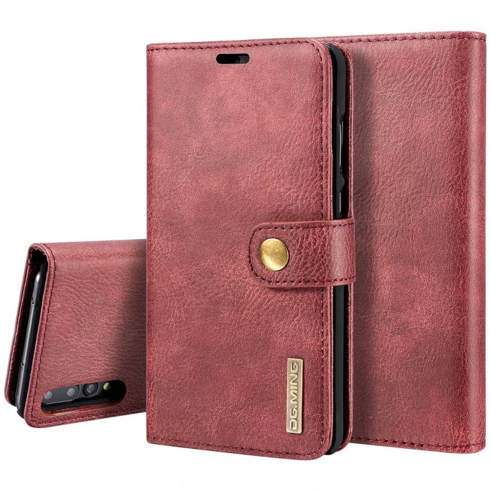 DG MING HUAWEI P20 Pro Case Flip Cover Leather Wallet Magnetic Detachable Back Cover for HUAWEI P20 Pro - Red