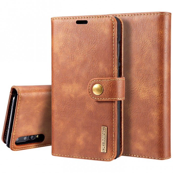DG MING HUAWEI P20 Pro Case Flip Cover Leather Wallet Magnetic Detachable Back Cover for HUAWEI P20 Pro - Brown