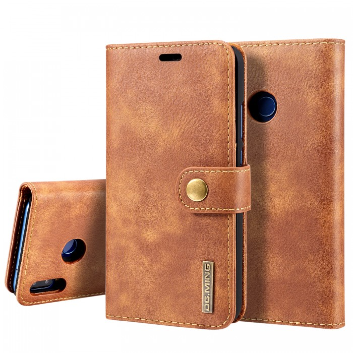 DG MING HUAWEI P20 Lite Case Flip Cover Leather Wallet Magnetic Detachable Back Cover for HUAWEI P20 Lite - Brown