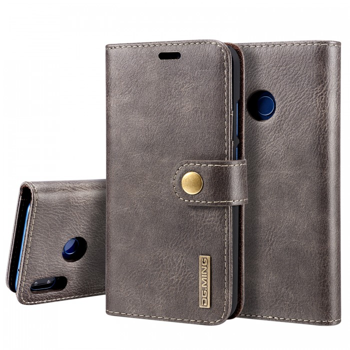 DG MING HUAWEI P20 Lite Case Flip Cover Leather Wallet Magnetic Detachable Back Cover for HUAWEI P20 Lite - Grey