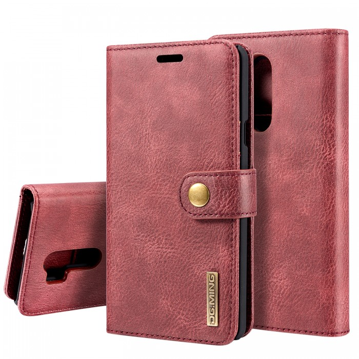 DG MING LG G7+ ThinQ Case Flip Cover Leather Wallet Magnetic Detachable Back Cover for LG G7+ ThinQ - Red
