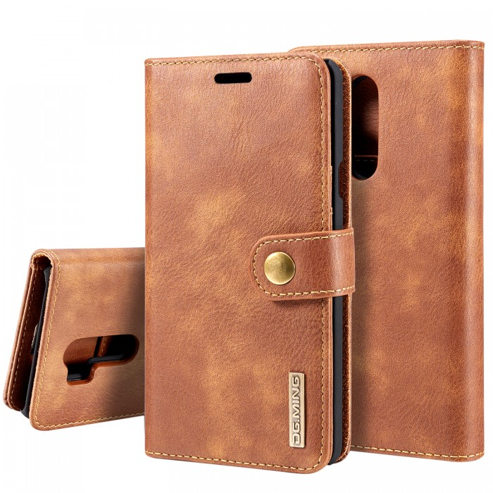 DG MING LG G7+ ThinQ Case Flip Cover Leather Wallet Magnetic Detachable Back Cover for LG G7+ ThinQ - Brown