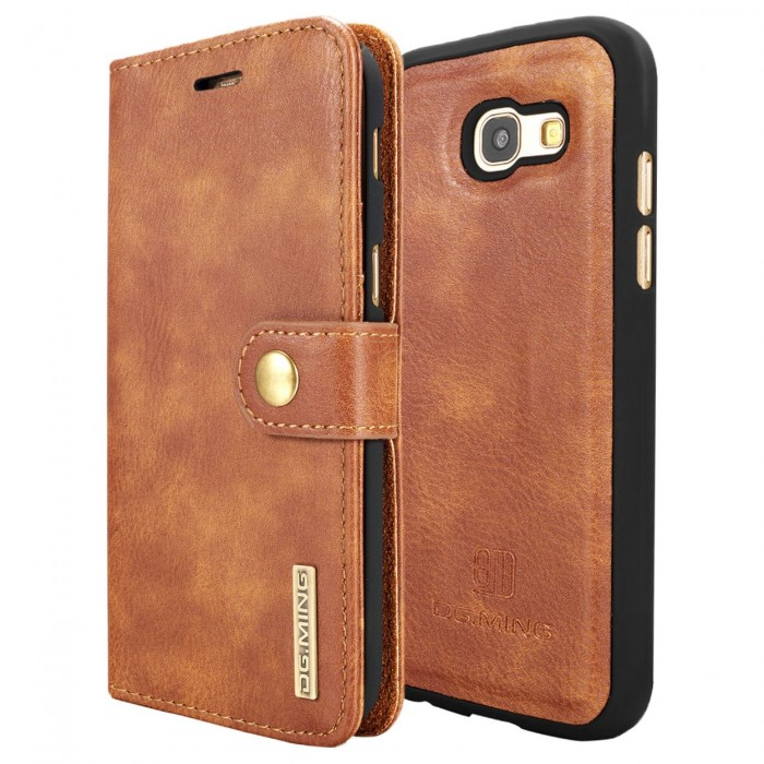 DG MING A5 2017 Case Flip Cover Leather Wallet Magnetic Detachable Back Cover for Samsung Galaxy A5 2017 - Brown