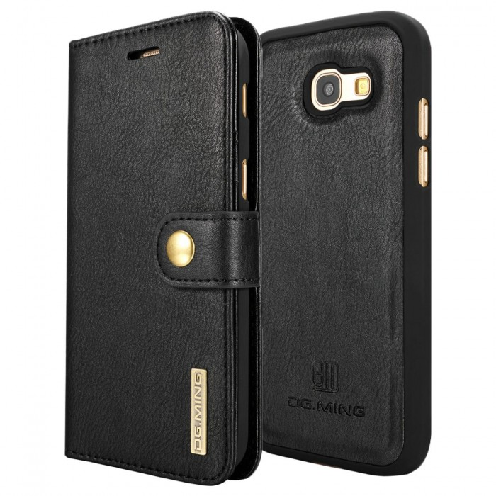 DG MING A5 2017 Case Flip Cover Leather Wallet Magnetic Detachable Back Cover for Samsung Galaxy A5 2017 - Black