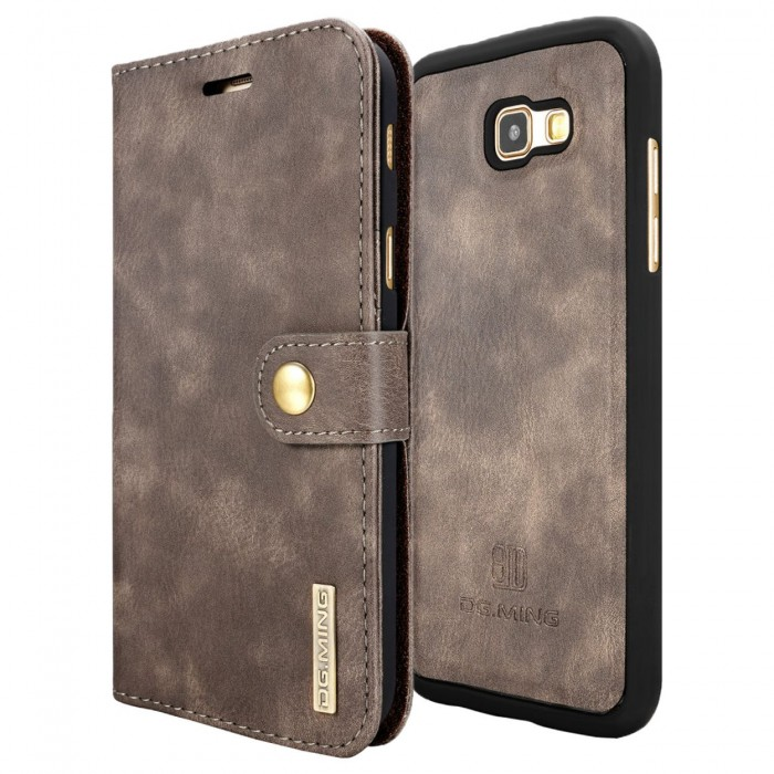 DG MING A7 2017 Case Flip Cover Leather Wallet Magnetic Detachable Back Cover for Samsung Galaxy A7 2017 - Grey