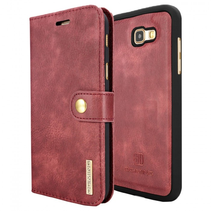 DG MING A7 2017 Case Flip Cover Leather Wallet Magnetic Detachable Back Cover for Samsung Galaxy A7 2017 - Red