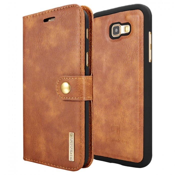 DG MING A7 2017 Case Flip Cover Leather Wallet Magnetic Detachable Back Cover for Samsung Galaxy A7 2017 - Brown