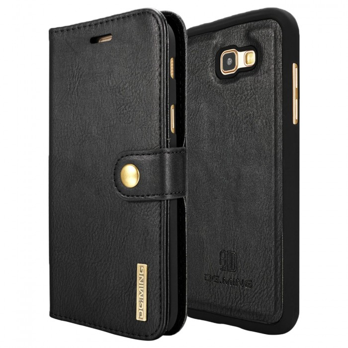 DG MING A7 2017 Case Flip Cover Leather Wallet Magnetic Detachable Back Cover for Samsung Galaxy A7 2017 - Black