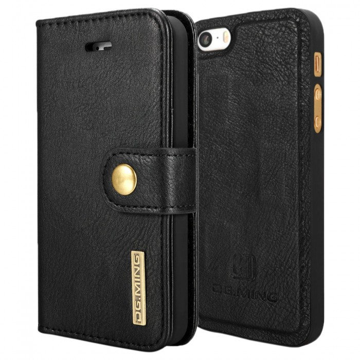 DG MING iPhone 5 5s SE Case Flip Cover Leather Wallet Magnetic Detachable Back Cover for Apple iPhone 5 iPhone 5s - Black