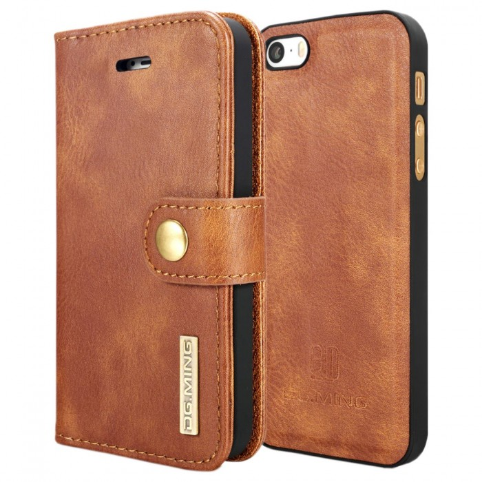 DG MING iPhone 5 5s SE Case Flip Cover Leather Wallet Magnetic Detachable Back Cover for Apple iPhone 5 iPhone 5s iPhone SE - Brown