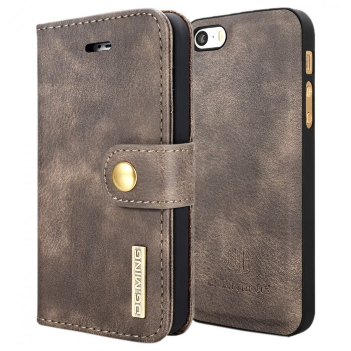 DG MING iPhone 5 5s SE Case Flip Cover Leather Wallet Magnetic Detachable Back Cover for Apple iPhone 5 iPhone 5s iPhone SE - Grey