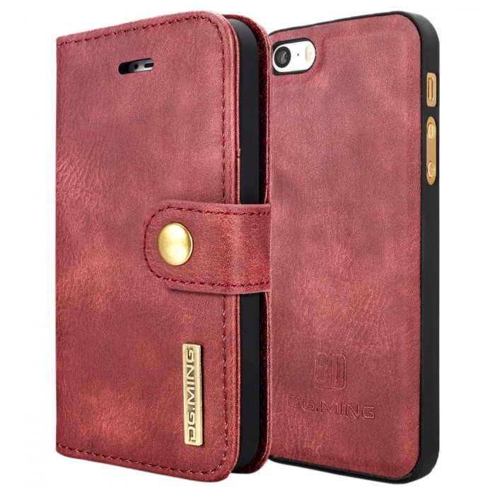 DG MING iPhone 5 5s SE Case Flip Cover Leather Wallet Magnetic Detachable Back Cover for Apple iPhone 5 iPhone 5s - Red