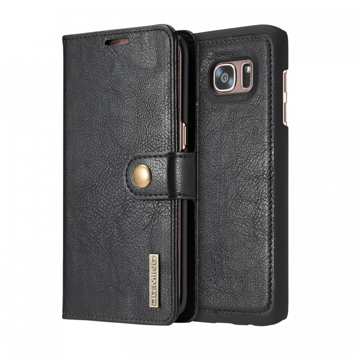 DG MING S7 edge Case Flip Cover Leather Wallet Magnetic Detachable Back Cover for Samsung Galaxy S7 edge - Black