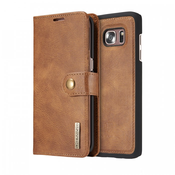 DG MING S7 edge Case Flip Cover Leather Wallet Magnetic Detachable Back Cover for Samsung Galaxy S7 edge - Brown