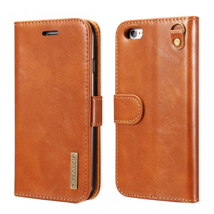 DG MING iPhone 6 iPhone 6s Case Flip Cover Leather Wallet Magnetic Detachable Back Cover Works With Magnetic Car Stand for Apple iPhone 6 & iPhone 6s (4.7 Inch) - Vintage Brown