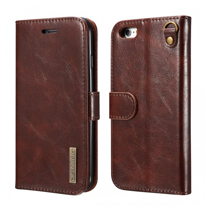DG MING iPhone 6 iPhone 6s Case Flip Cover Leather Wallet Magnetic Detachable Back Cover Works With Magnetic Car Stand for Apple iPhone 6 & iPhone 6s (4.7 Inch) - Vintage Coffee