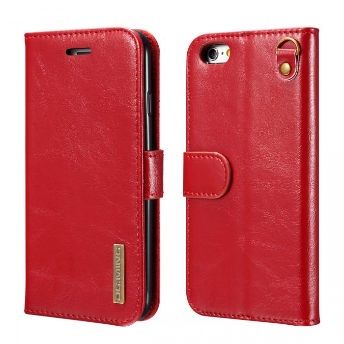 DG MING iPhone 6 iPhone 6s Case Flip Cover Leather Wallet Magnetic Detachable Back Cover Works With Magnetic Car Stand for Apple iPhone 6 & iPhone 6s (4.7 Inch) - Vintage Red